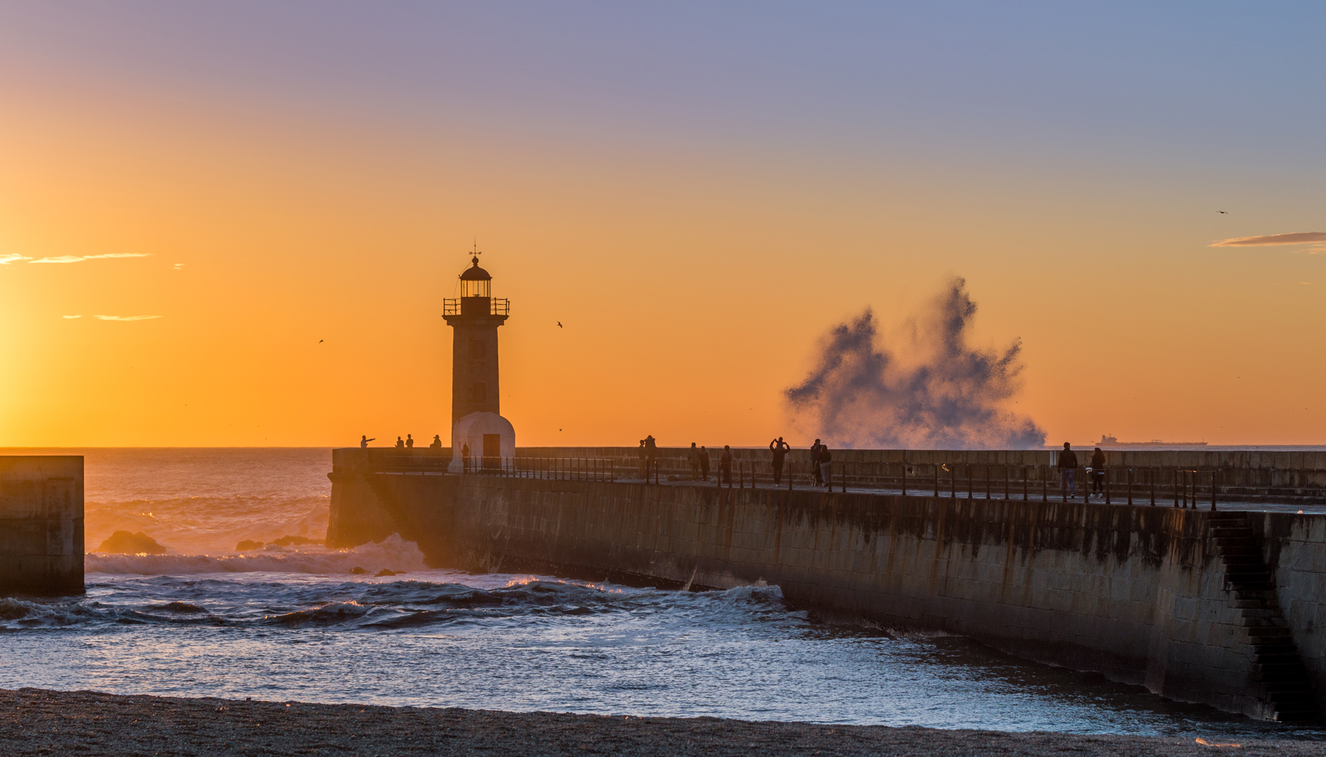 Sunset seascape lighthouse